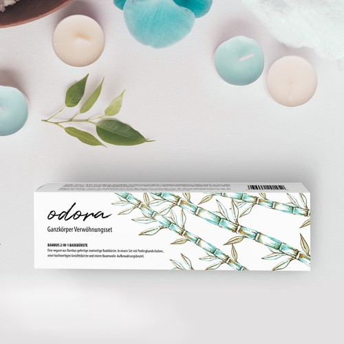 Blue packaging with the title 'Vegan Bamboo Brush Set Packaging Design'