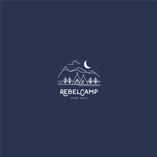 Tent logo with the title 'Line art scene for a luxury fitness retreat'