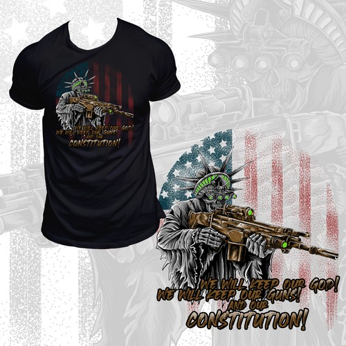 Patriotic t-shirt with the title 'Infringed Liberty'
