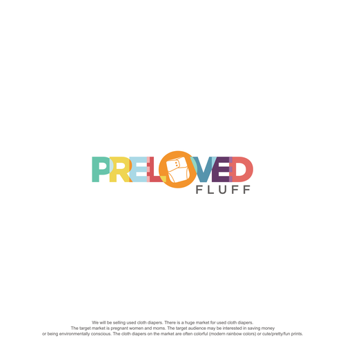 Pregnancy design with the title 'PRELOVED FLUFF - LOGO DESIGN'