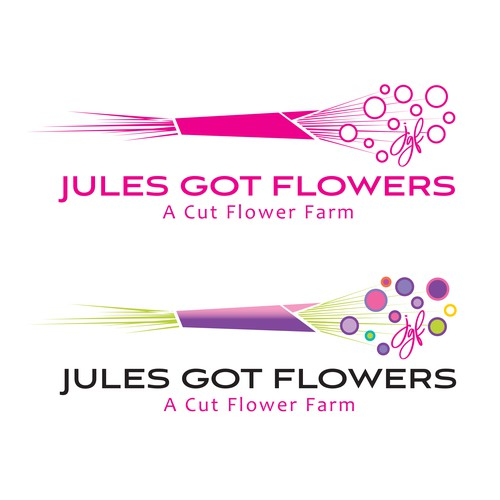 Purple and pink design with the title 'cut flower farm logo'