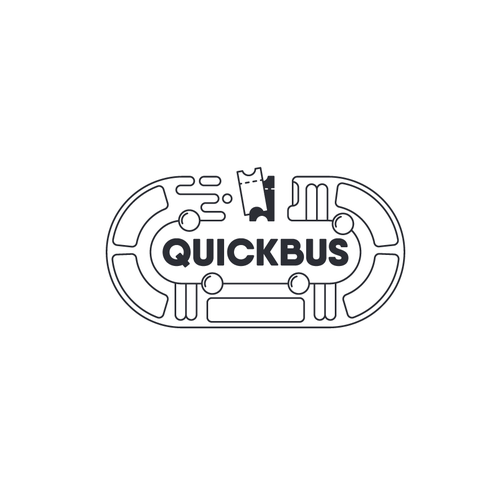 Shuttle service logo with the title 'QuickBus logo'