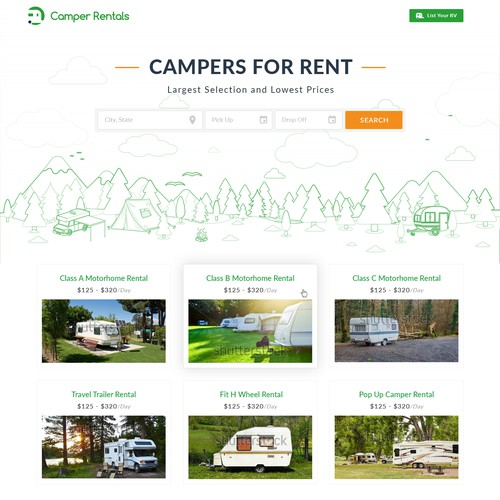Blog website with the title 'RV Rental Homage and Blog Page Design'