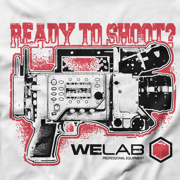 Shooting design with the title 'Ready to shoot? T-shirt'