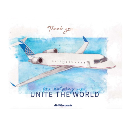 "World illustration with the title ''Thank you for helping us unite the world""'"