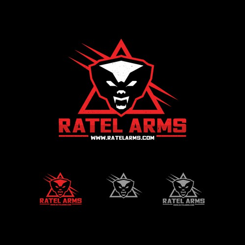 """Fierce logo with the title 'Logo concept for """"Ratel Arms"""".'"""