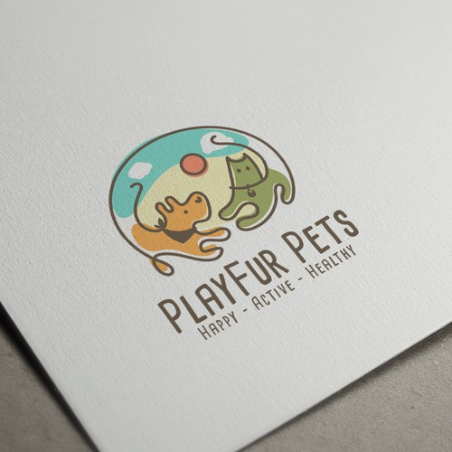 Dog and cat logo with the title 'Logo Concept for PlayFur Pets'
