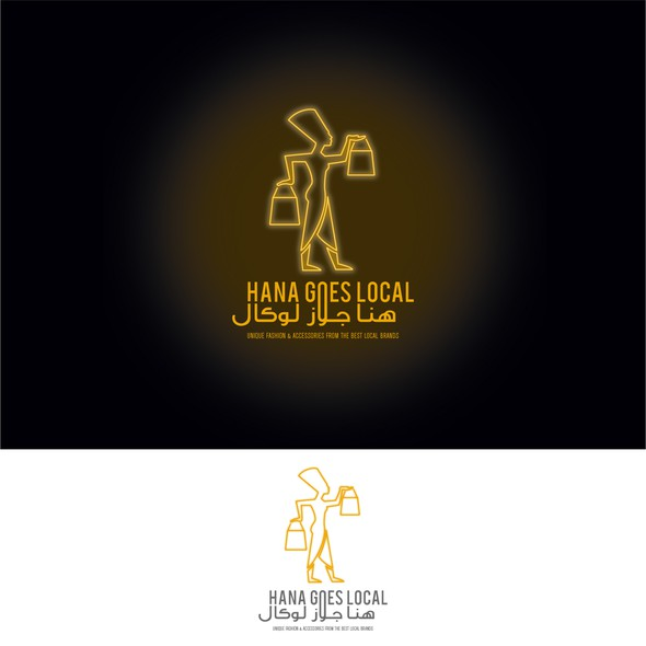 Neon logo with the title 'hana goes local'