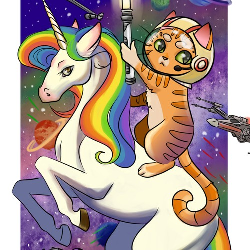 Spaceship artwork with the title 'Cat riding a unicorn illustration'