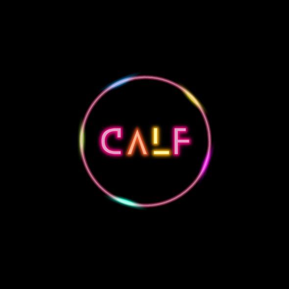 Neon design with the title 'Retro-futuristic neon logo design for a contemporary music duo'
