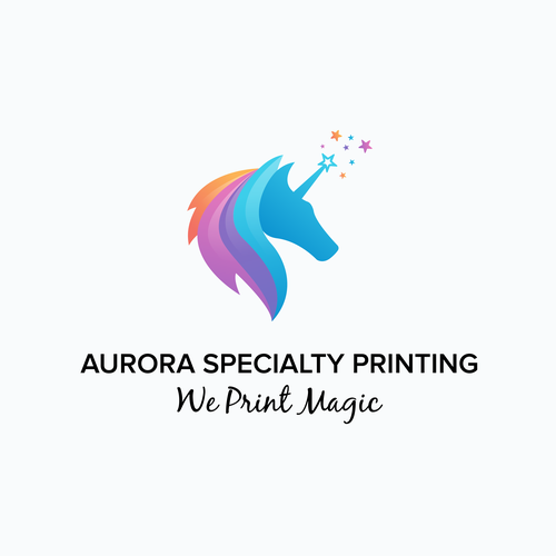 Multicolor design with the title 'Aurora Specialty Printing'
