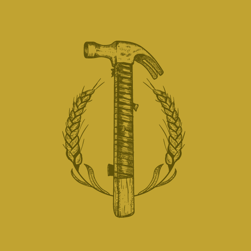 Hammer design with the title 'Hand drawn logo '