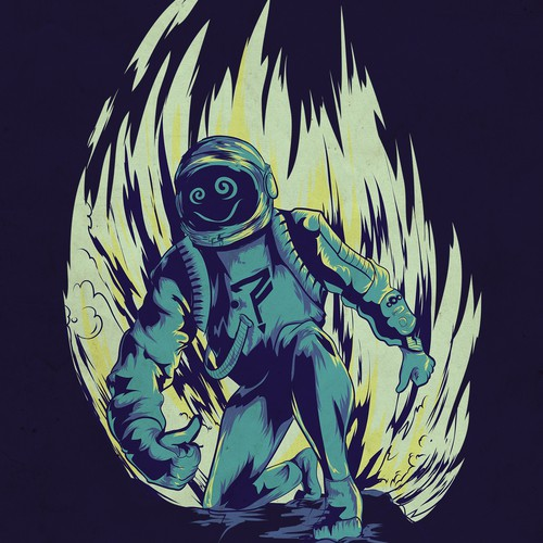 Futuristic artwork with the title 'Rave astronaut'