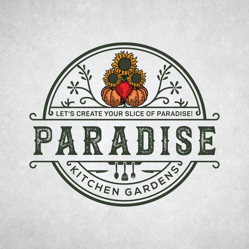 Sunflower logo with the title 'Paradise Kitchen Gardens'
