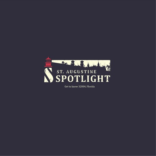 Lighthouse design with the title 'St. Augustine Spotlight  - cool lighthouse logo!'