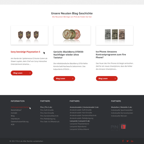 Pin design with the title 'Onlineshop for collar pin'
