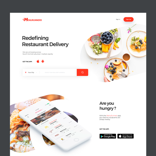 Homepage design with the title 'On-demand restaurant delivery service'