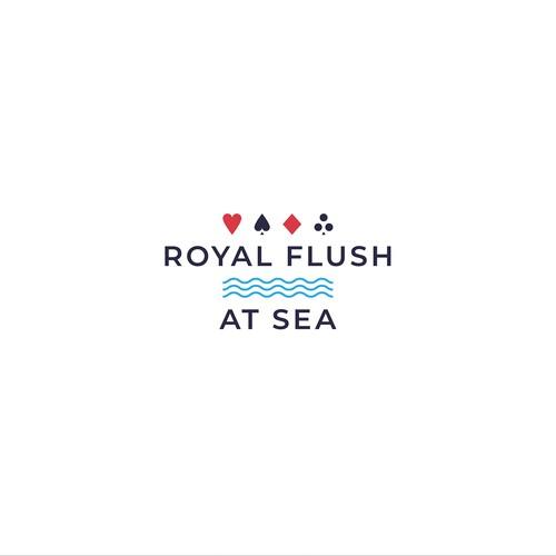 Gambling logo with the title 'Royal Flush at Sea'