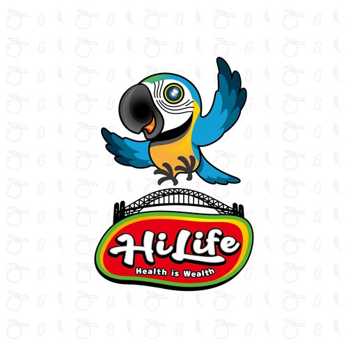 Parrot design with the title 'A cute Macaw for healthy foods for kid.'