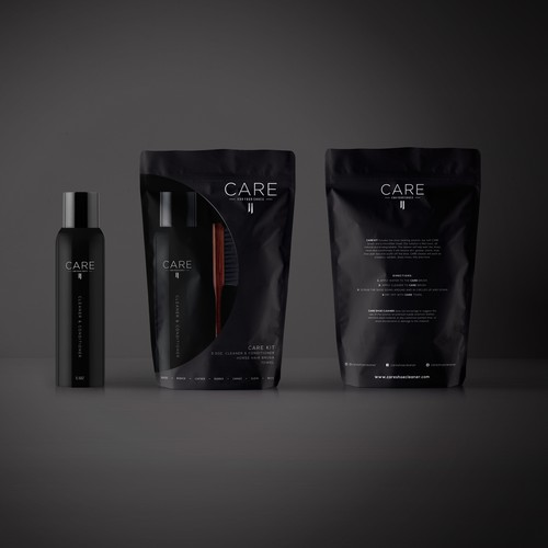 Kit design with the title 'Masculine Dark Packaging Design for Shoe Cleaner Kit'