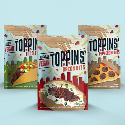 Vegan design with the title 'Louisville Vegan Toppins''