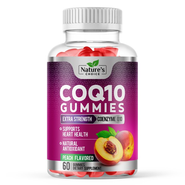 Purple label with the title 'Healthy CoQ10 Gummies Label '