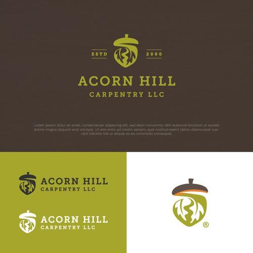 Oak leaf design with the title 'Finalist in Contest Logo of Acorn Hill Carpentry LLC'