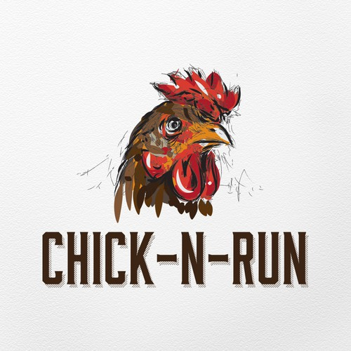Rooster logo with the title 'Artistic logo for chicken restaurant'
