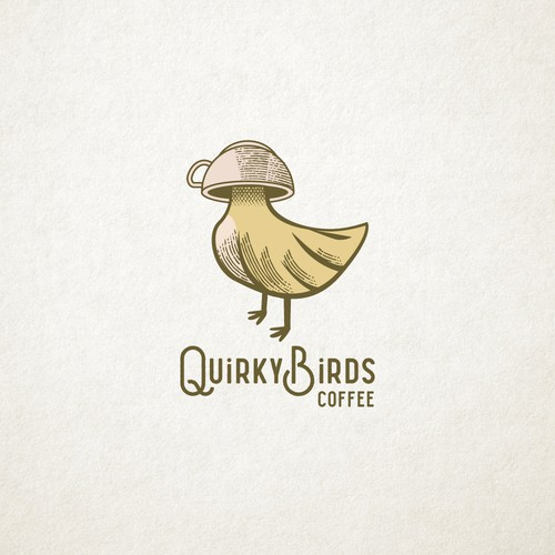 Bird logo with the title 'Logo for Quirky Birds Coffee'