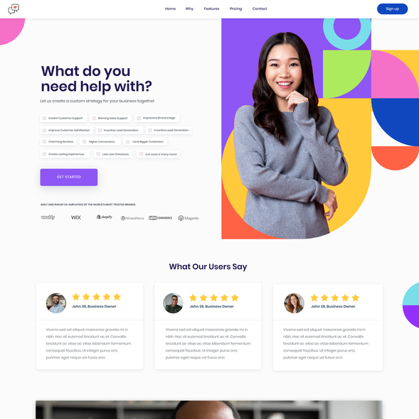 Customer service design with the title 'Colorful design for startup'