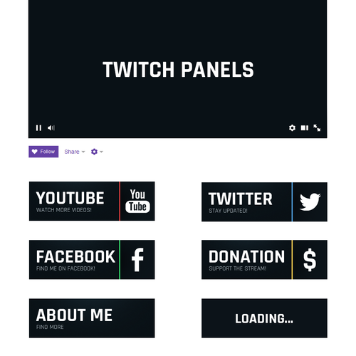 Panel design with the title 'Buttons for Twitch channel'