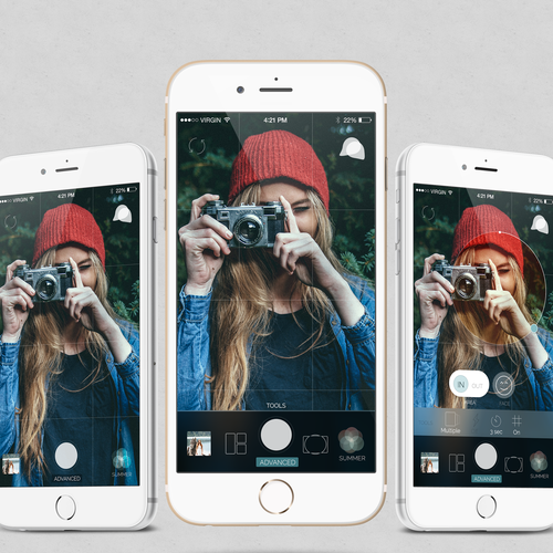Filter design with the title 'Camera App'