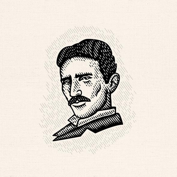 Quantum logo with the title 'Nikola Tesla famous portrait'