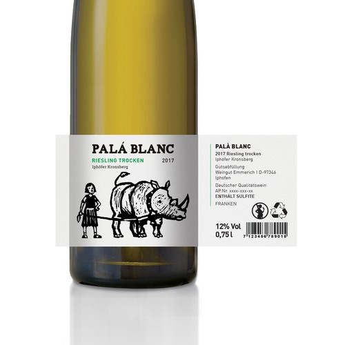 Funky design with the title 'Pal'a Weine - Pal'a Blanc'