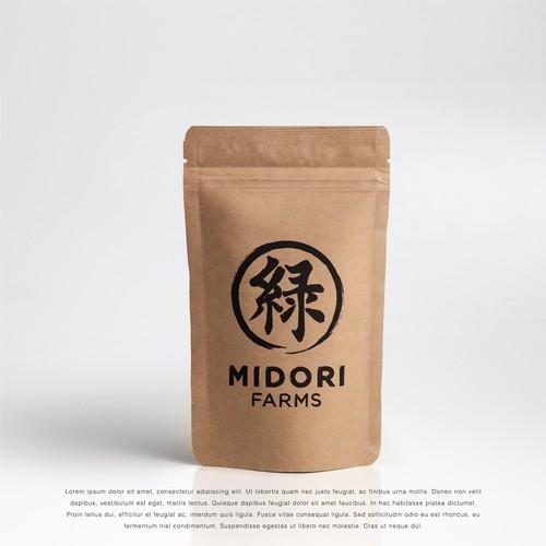 Japanese design with the title 'Midori Farms Logo'