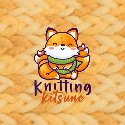 Baby food logo with the title 'Knitting Kitsune'