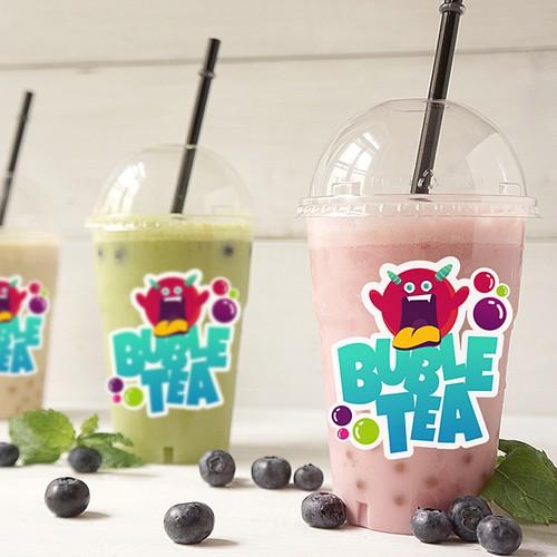 Bubble tea design with the title 'Bubble Tea Cup Design'