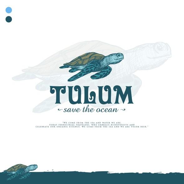 Sea turtle design with the title 'TURTLE LOGO'