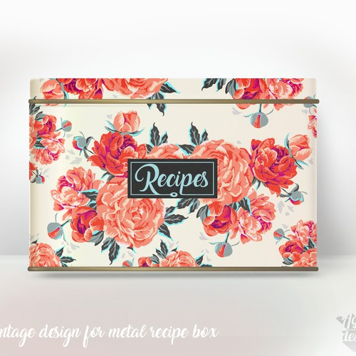 Vintage packaging with the title 'Vintage red peonies'