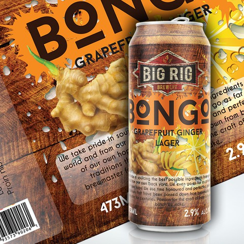 Beer can label with the title 'BONGO Big Rig Brewery Beer - LABEL NEEDED'