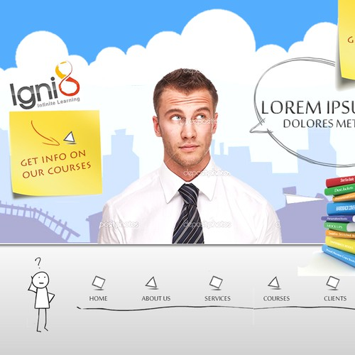School website with the title 'New website design wanted for Igni8 - Infinite Learning [5 pages]'