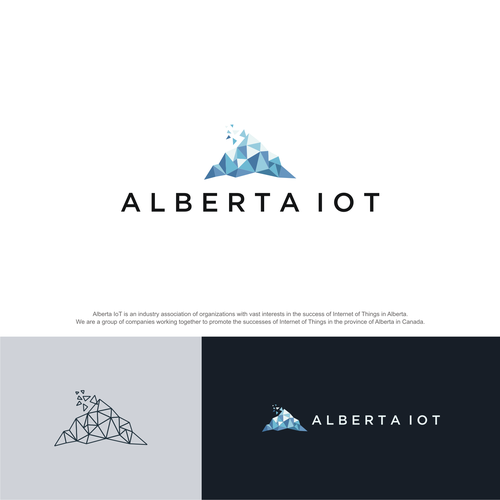 3D triangle logo with the title 'ALBERTA IoT - LOGO'
