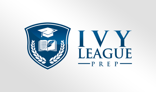"""Blue and white logo with the title 'College Admission Education Company Logo - - """"Ivy League Prep""""'"""