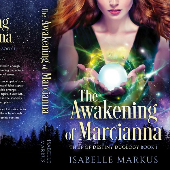 Mystical book cover with the title 'The Awakening of Marcianna'
