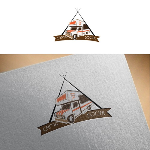 Grill brand with the title 'Logo for a bar and grill restaurant Camp Social'
