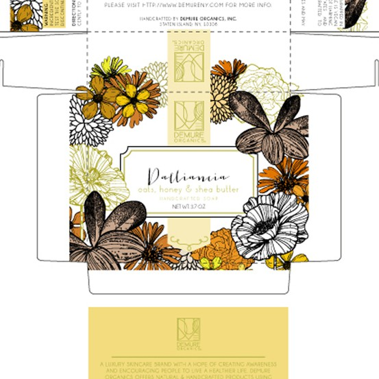 Flower packaging with the title 'Packaging Design for Demure Organics Inc.'