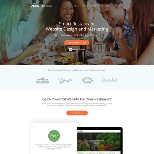 Construction website with the title 'Website Design For BistroPress'