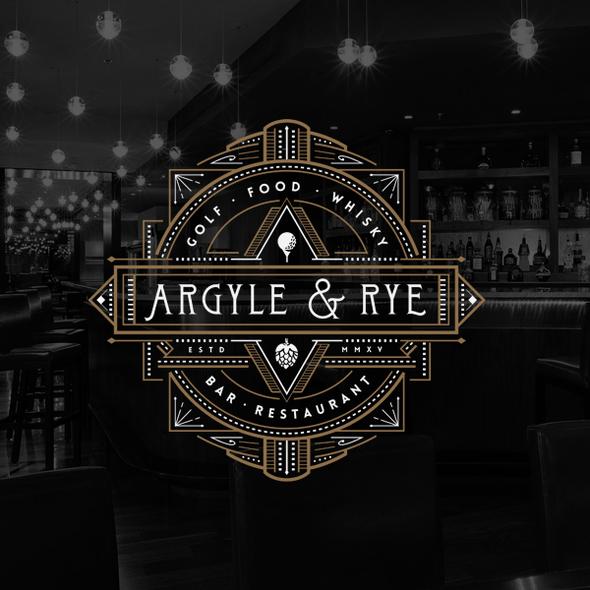Bar and restaurant design with the title 'Argyle & Rye bar restaurant'