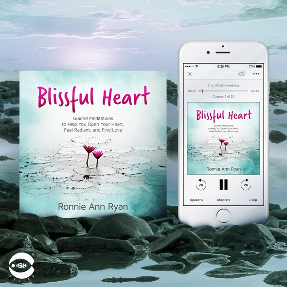 """Meditation book cover with the title 'Audiobook cover for """"Blissful Heart"""" by Ronnie Ann Ryan'"""