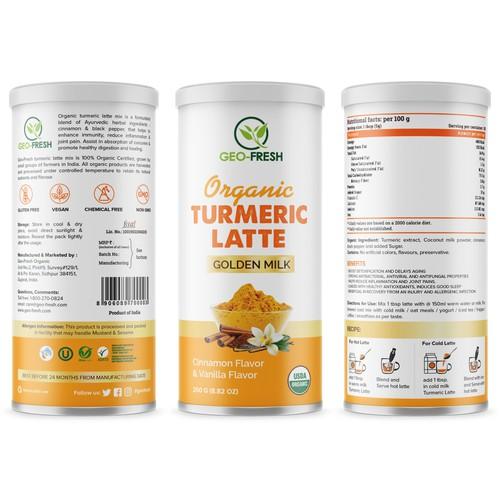 Orange label with the title 'Organic Turmeric Latte'